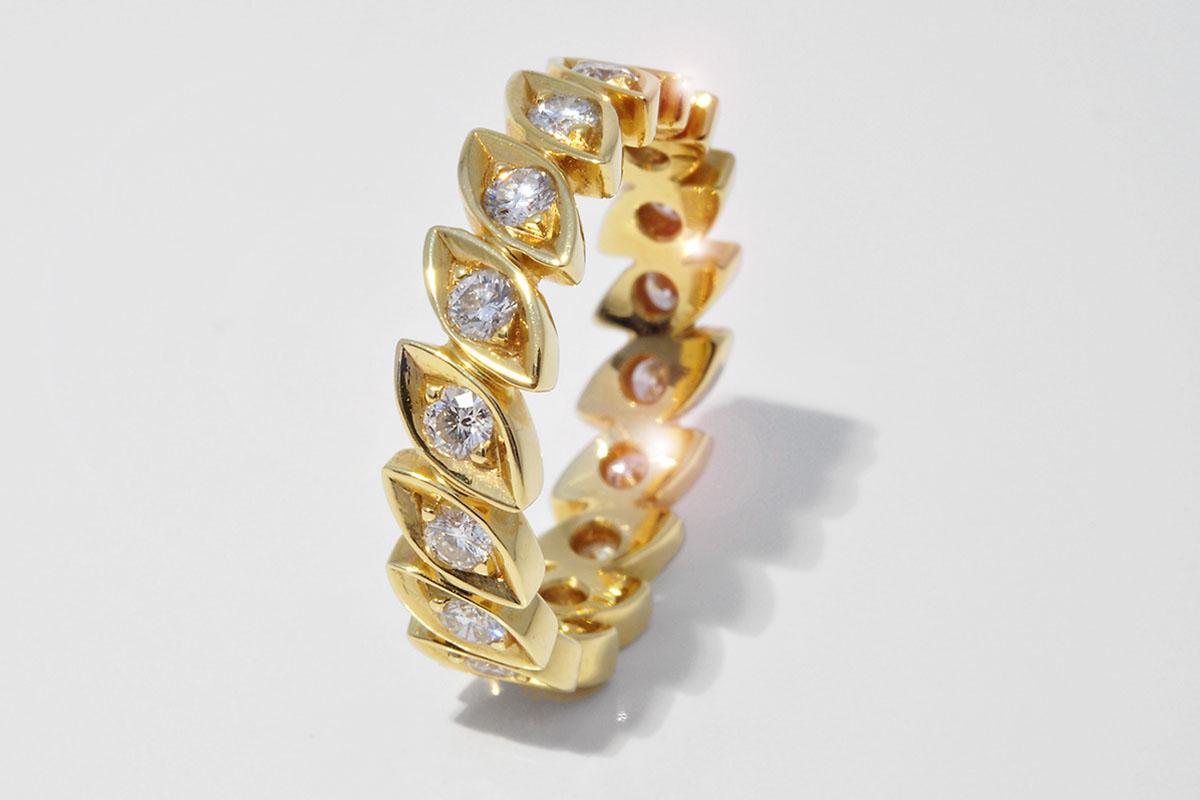 Alliance Ring in 750 Gelbgold mit Vollschliff Brillanten