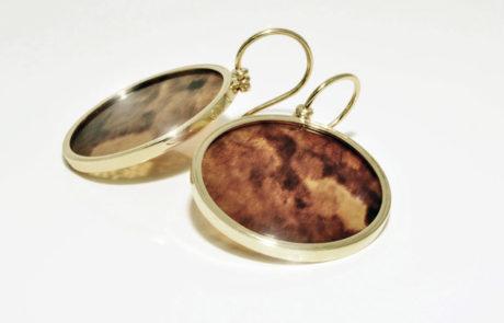 Schildpatt Ohrhänger gefasst in 750 Gelbgold