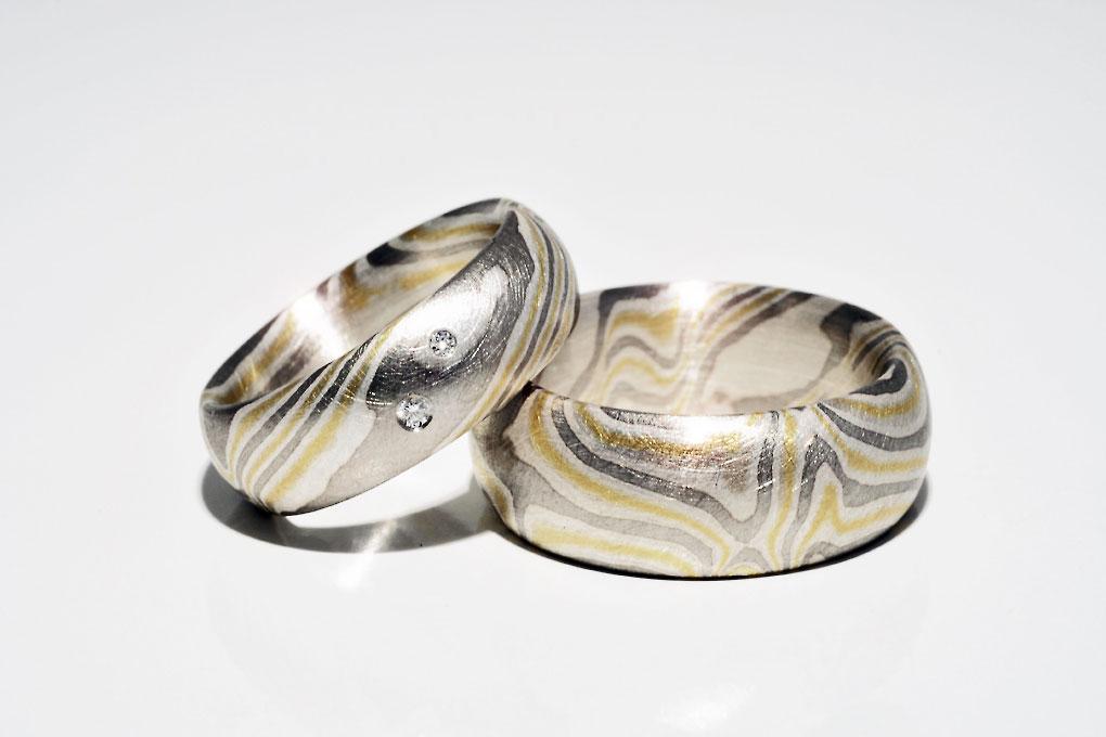 Mokumegane Ringpaar in, Gold, Silber und Palladium